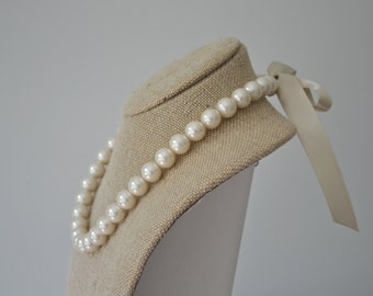 Caroline: Adult Pearl and Ribbon Tie Necklace - Ivory Pearls and Champagne Ribbon - Bridesmaids, Bride