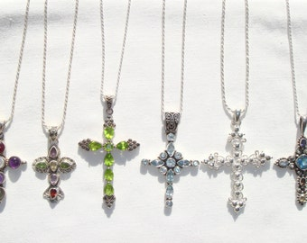 Nakai cross etsy sterling silver cross necklace cross pendant choice of sterling silver gemstone cross multi mozeypictures Image collections