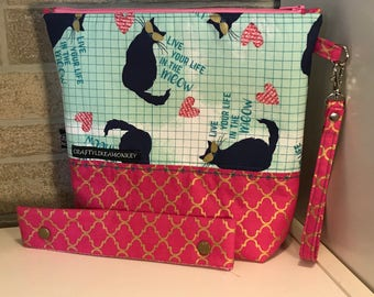 """Cat """"live in the meow"""" project zipper or snap pouch with flat bottom and knitting needle cozy"""
