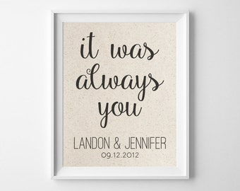 It Was Always You | 100% Cotton Print | Love Quote Anniversary Gift | Gift for Wife Husband | 2nd Cotton Anniversary Gift | Personalize