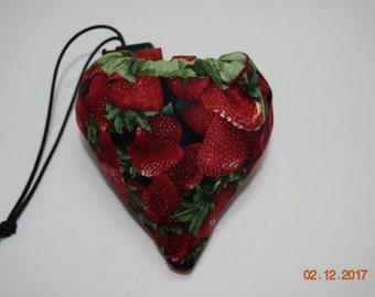 Shopping Bag, Market Bag, Foldable, Reusable, Collapsable, Strawberry