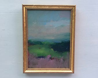 CUSTOM FOR RN - Lavender and Green Landscape Painting- Framed- Small Painting - Original 9 x 7 approx. inch