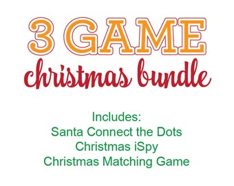 Christmas Games Bundle, Christmas Games Printable Kit, Christmas Connect the Dots, Christmas Matching Game, Christmas iSpy, Christmas Games