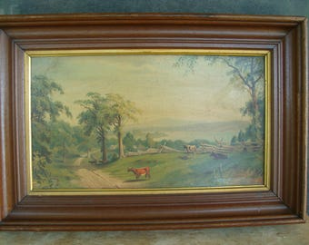 John Ross Key Painting Oil On Board Country Scene Cattle By A Road Signed And Dated J.R. Key 69