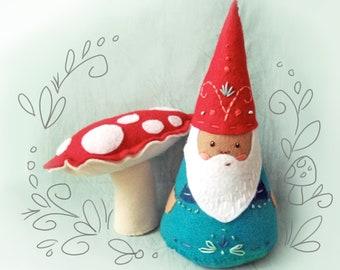 DIY felt embroidered NŌM gnome santa plush doll PDF pattern Christmas decor