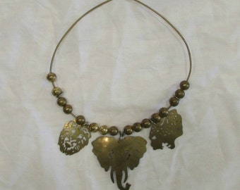 Choker Necklace, Brass, African Animals, Tribal, 1970's or 1980's