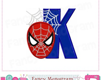 spiderman monogram k appliquespiderman letter k appliquekfont kspiderman appliquekspiderman designspider manboys applique