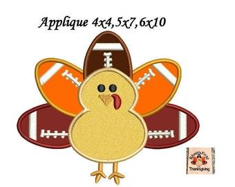 Football Turkey Thanksgiving Applique - Machine Embroidery Design Pattern - Instant Download