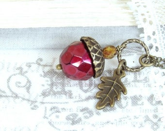 Ruby Red Acorn Necklace Acorn Pendant Necklace Autumn Gift Fall Acorn Necklace Gift For Her