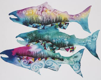 Salmon Season, 8x10 Watercolor Print, West Coast, Pacific Northwest, Home Decor, Wall Art