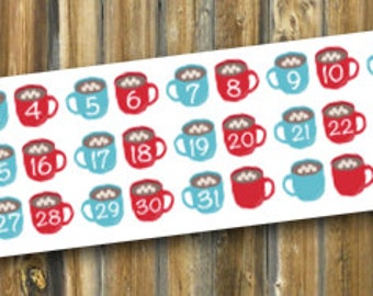 Hot Chocolate Numbers Planner Stickers