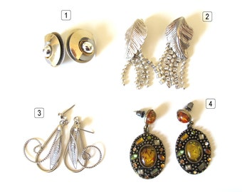Vintage earrings, 4 set of earrings retro at your choice