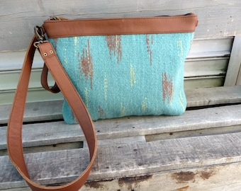 Handwoven Leather Ladies Clutch. Brown Leather Clutch Bag. Turquoise handwoven bag. Cross-body Bag with Zipper. Ladies Art Bag.