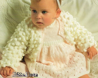 Baby Knitting Pattern - PDF download, Double Knit Cardigan and Dress to fit 46 - 51 cm chest