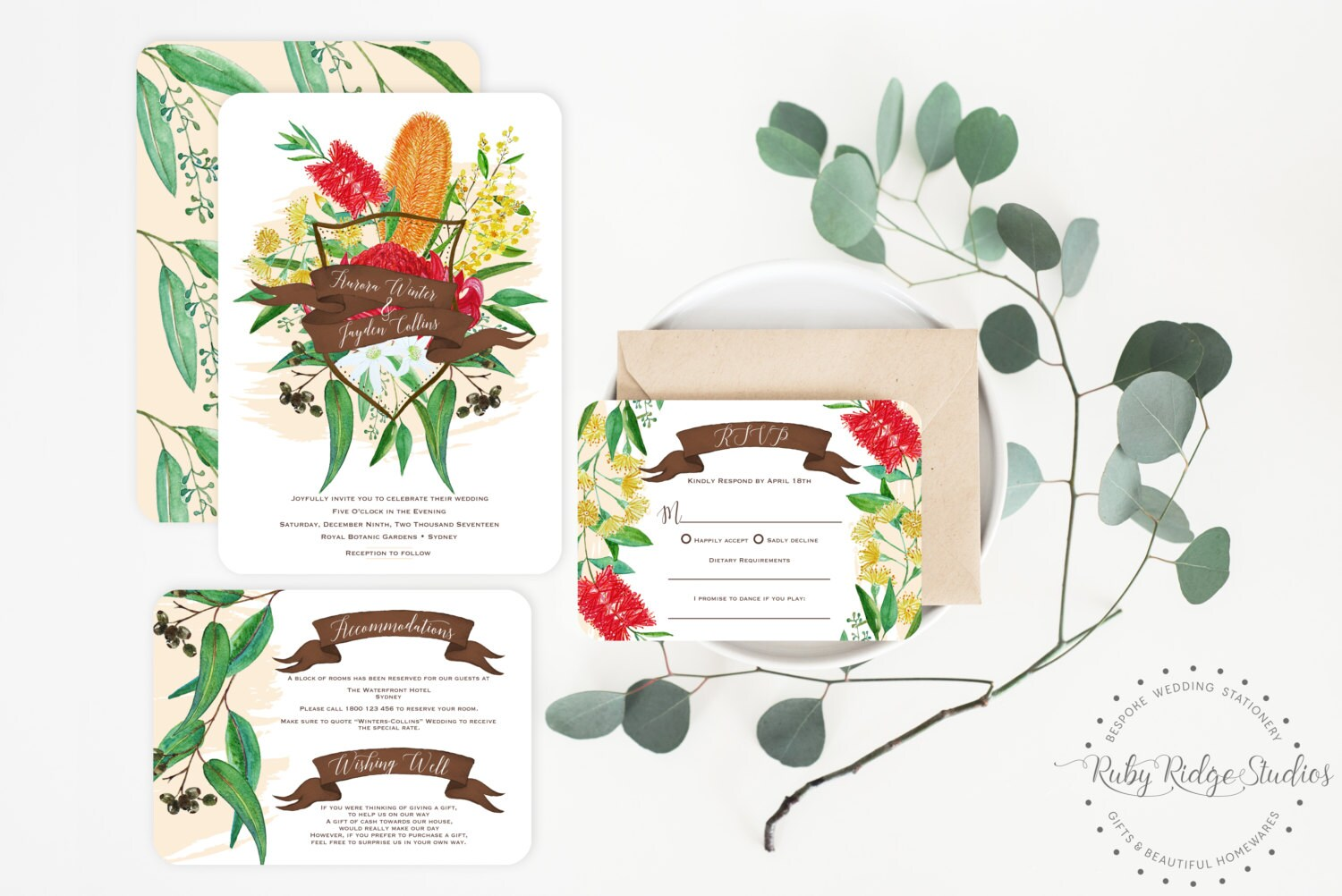 Printable Wedding Invitation Australian Natives Watercolor