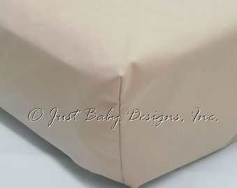 Fitted Crib Sheet - Khaki Solid Cotton