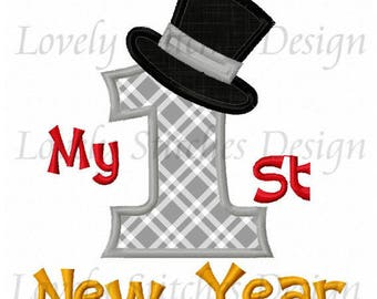 My First 1st New Year Top Hat 2018 Applique Shirt or Onesie Boy or Girl