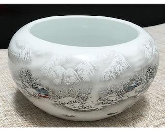 Free Shipping Ergonomic Calligraphy Ceramic White Antique Relief Pen Wash Brush Water Bowl 16.5x8.4cm 0044 Orientalartmaterial Supply
