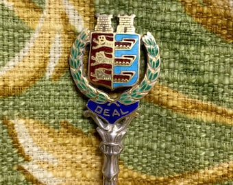 Antique sterling Crest of Arms Collector Spoon  with Enameling  on Handle 1905