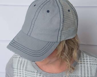 Grey trucker Hat, womens hat, levi distressed hat, denim hat, silver hat, trucker hat for women, baseball cap, womens trucker hat, levi hat