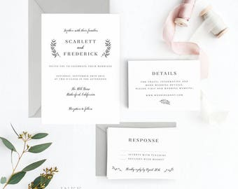 Classic Wedding Invitation Suite, Wedding Invitation Printable, Invitation Set, Wedding Invitation Rustic, Letter or A4 (Item code: P197)