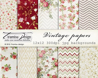 Vintage Scrapbook Papers and Digital Paper Pack 17