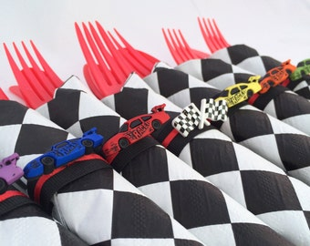 Race Car Party Flatware - Racing Car Theme Party Cutlery, Racing Car Birthday Party Silverware, Race Car Party Supplies