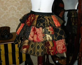 Custom Made Patchwork Ruffle Bustle Overskirt - 3 Layer, Sz. M - Your Choice of Colors