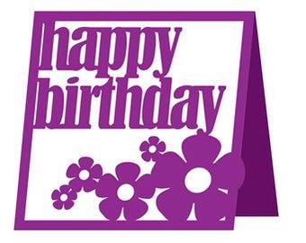 Happy Birthday Flower Card , Blank Inside , Blue , Yellow , Pink , Purple , PaperCut , Men , Women , Kids , Teens