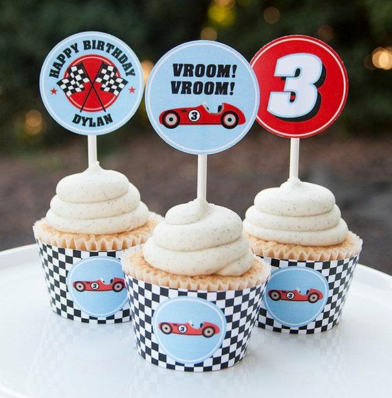 Race Car Birthday Cupcake Toppers Race Car Birthday