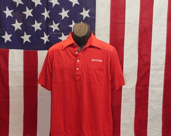 80s red two pocket polo shirt sz L