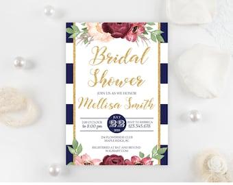 Marsala Bridal Shower Invitation Template. Printable Burgundy and Gold Floral Bridal Shower Invitation Red Blush Pink Editable Download BS21