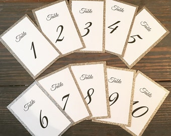 Glitter Table Number Cards, Table Numbers