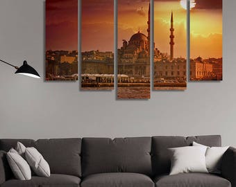 LARGE XL Istanbul, Turkey at Warm Sunset Canvas Print Mosque in Istanbul Canvas Bosphorus Canvas Wall Art Print Home Decoration - Stretched