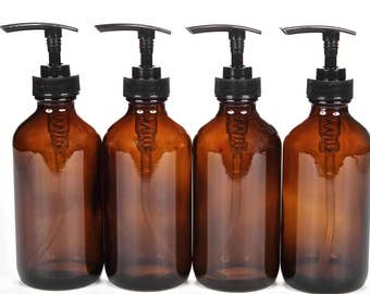 4, Large, 8 oz, Empty, Amber Glass Bottles with Black Lotion Pumps