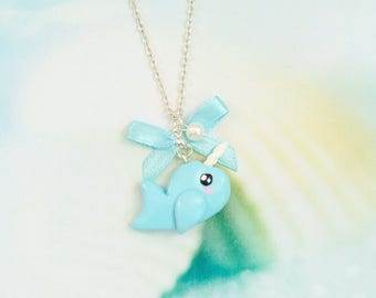 necklace narval kawaii blue polymer clay