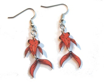 Jointed Orange Telescope Goldfish Earrings Handcrafted Plastic Jewelry Accessories Fashion Novelty Unique Gift Gifts for Her