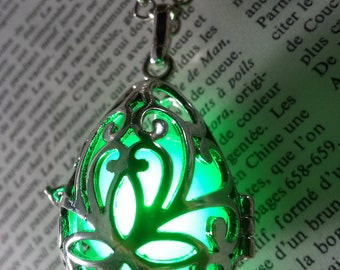 Necklace - Drop locket with glowing orb