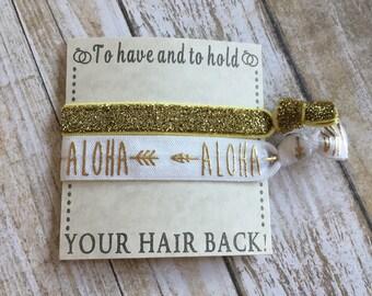Aloha Hair Ties, beach hair ties, summer party favors, Hawaiian Hair accessories, hair tie favors, hair accessories