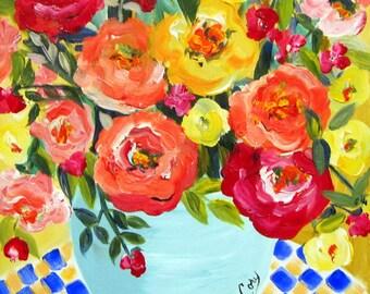 Original Painting Roses 16 x 20 canvas art Fine art by Elaine Cory