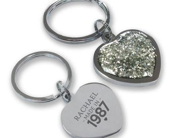 Personalised engraved 30TH BIRTHDAY keyring gift, glittery bling heart shaped keyring - GHE-M30