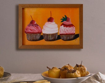 Cupcakes painting, Colorful wall art, Cupcakes art, Bakery art, Cake wall art, Food art decor, Original painting, Cupcakes on canvas,