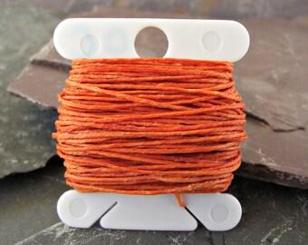 Orange Linen Thread,4 Ply 10 yards,Waxed Irish Linen Thread,WIL-8,orange linen thread,waxed linen thread.bookbinding thread,waxed linen cord