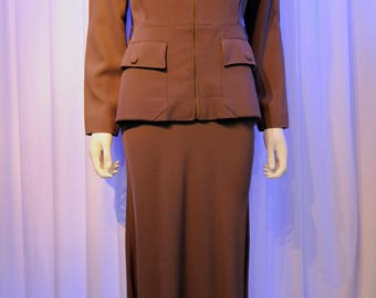 Jean Paul Gaultier Taupe 1940s Bladerunner Style Skirt Suit Set