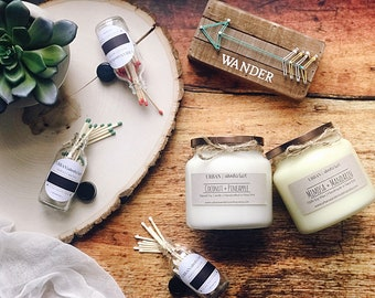 MOTHERS DAY GIFT | Set of Two 16oz Candles | Free Matchstick Bottle | Gifts Under 50 | Mom Gift Ideas | Gifts for Mom | Set of Soy Candles