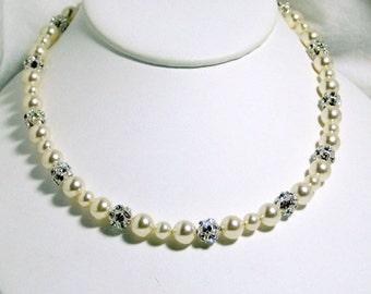 Collier de mariée Ivoire perles, boules de strass Swarovski, boules de feu, argent Sterling, bijoux de mariée, mariage, à la main