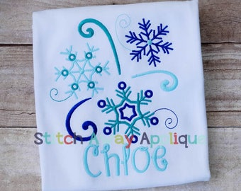 Swirl Snowflakes Christmas Machine Embroidery Design