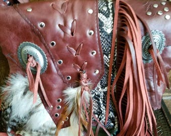 Burgundy leather bag, Leather Fringe Bag, Leather Purse, Feather Bag, Snake print, Ladies and Gems Designs, Boho Leather, Handcrafted  USA