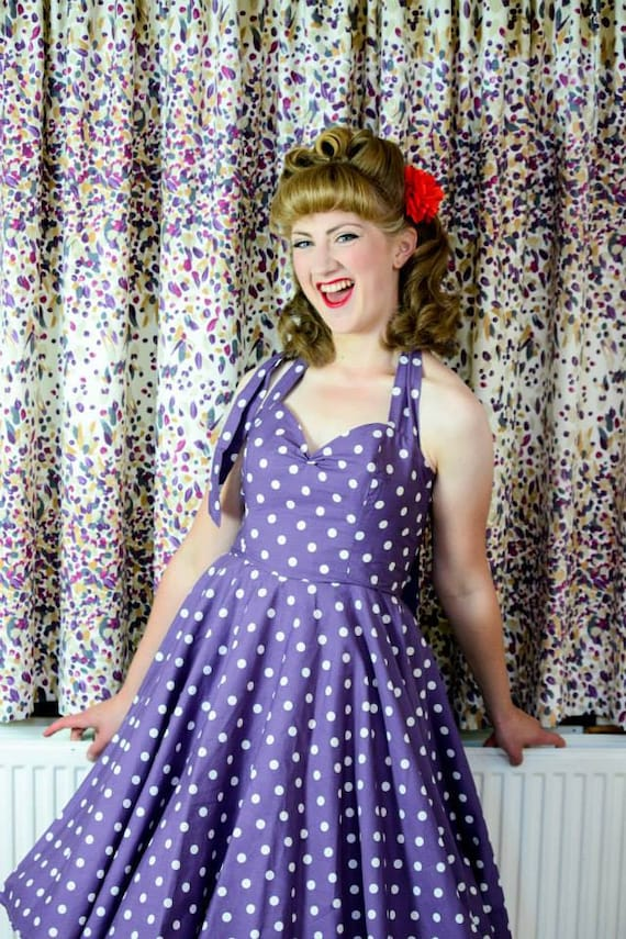 Fifties Polka Dot Dress in Purple. Full Circle Skirt Halter