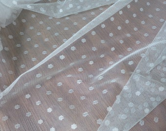 Soft Polka Dot Illusion Tulle Lace Fabric in Ivory for Wedding Veil, Tutu Dress, Prom Dress